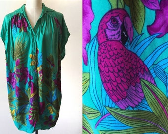 Bright tropical dress // vintage shirt dress // bird print dress // vintage tropical cover up