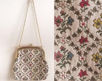 vintage tapestry handbag // vintage needlepoint bag  // vintage floral tapestry purse // pastel floral bag // gold chain