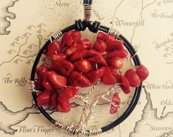 Game of Thrones, Weirwood Tree, Song of Ice and Fire, Winterfell, Tree of Life Pendant Necklace