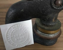 Antique 1955 cast iron seal embosser, Furbee Trucks Florida stamp, seal press, embossing stamp, corporation seal and stamp co, office decor