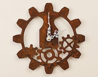 Gear Clock - Industrial Style With Rusty Steel Gears