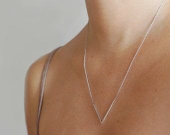 Chevron necklace triangle necklace v necklace minimalist necklace geometric necklace sterling silver necklace everyday necklace - amejewels