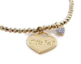 Name bracelet. Heart gold bracelet. Gold heart bracelet. Beaded name bracelet. Personalized bracelet. Gold plated brass bracelet.
