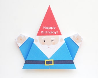 Printable DIY Origami Happy Birthday Gnome Card