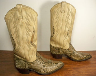 Vintage Dan Post Exotic Snake Skin Leather Riding Biker Cowboy Western Women's Boots Made in USA Size 7