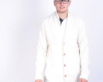 Bondelid Mens XL Jumper Sweater Beige Single Breasted Cotton