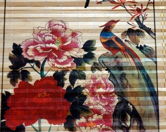 Vintage Asian Wooden Wall Hanging Scroll