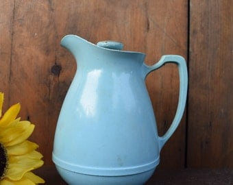 American Thermos Bottle Co Norwich Conn USA Vintage Carafe Pitcher Light Blue Glass Lined