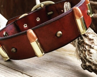 Leather dog collar with bullet conchos