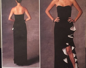 Vogue American Designer Badgley Mischka Fitted Strapless Gown, Sweetheart Neckline, High Slit and Ruffle Flounce Pattern 1426 Sizes 14-22