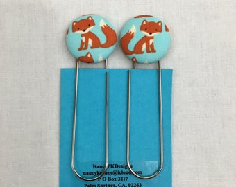 Orange Fox on Aqua Covered Button Giant Paperclip, Bookmark, Organizer