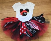 Girl pirate costume, extra full Pirate Minnie inspired Tutu outfit - cruise clothes, pirate Tutu, shabby chic double layer pirate fabric tut