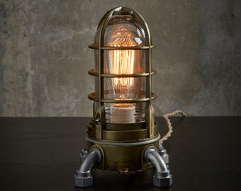 Industrial table lamp in Antique brass, nautical metal cage bedside touch lamp, Steampunk vintage style Edison desk lamp 120v-220v