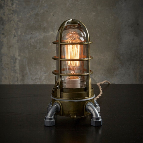 Industrial Light Parts : Industrial table lamp in antique brass nautical metal cage