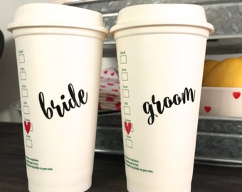Personalized Starbucks Cups, Bride and Groom, Mr and Mrs, Bride to be, Valentines day gift