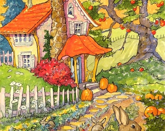 Autumn Cottages Storybook Cottage Note cards with Envelopes Set