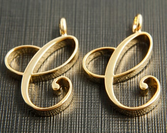 Alphabet C with link, Nickel free, AC-G8, 2 pcs, 21.2x14.3mm, 3mm thick, Capital letter, 16K gold plated brass, Alphabet charm / pendant