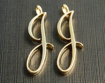 Alphabet J with link, Nickel free, AJ-G8, 2 pcs, 30x10mm, 3mm thick, Capital letter, 16K gold plated brass, Alphabet charm / pendant