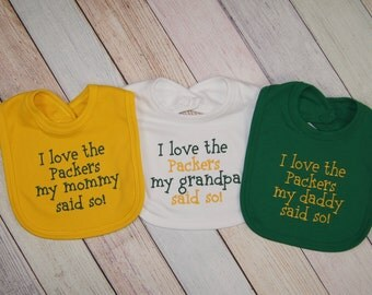 Green Bay Packers Baby Girl - Packers Baby Boy - Football Embroidered Bib - Packers Baby - Green Bay Packers Bib - Packers Fan