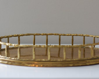 Vintage Brass Oval Bamboo Tray