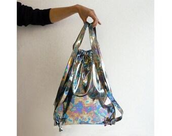 Holographic drawstring backpack bag metallic holograph / berlin / art artistic /new york / paris /  silver / gym / berghain club / rucksack
