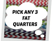 SALE FAT QUARTERS Pick Any 3 Fat Quarters from my shop - Fabric Bundle - mix and match - 18 by 21 inches