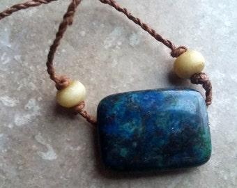 Lapis Lazuli pendant necklace on natural cordage