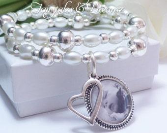 White Photo Bracelet, Memorial Photo Bracelet , Custom Photo Bracelet, Bridesmaid Jewelry, Cuff Bracelet, Photo Jewelry , 16mm Photo ,UK