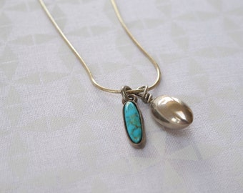Turquoise and Silver Teardrop Necklace