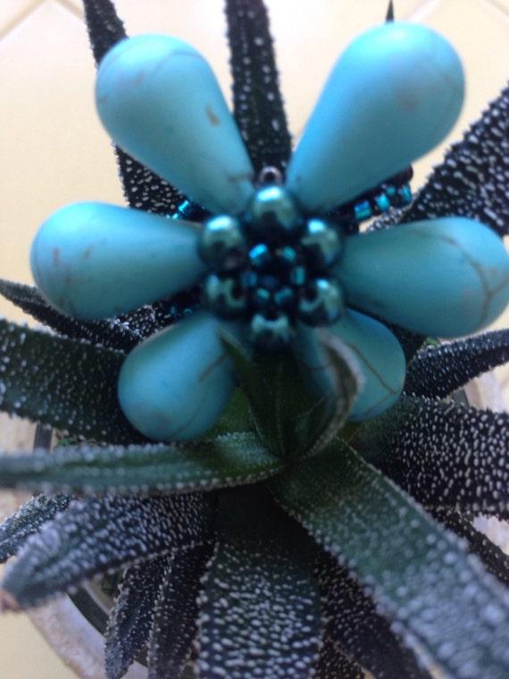 Blue turquoise flower ring