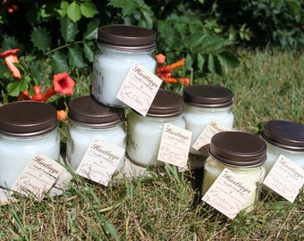 Lot of 3 Handmade Hastings Candle Company 8oz Soy Blend Candles Square Mason Jar Made in Michigan