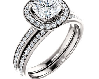 Forever One  Moissanite Halo Diamond Engagement Ring set  in 14k White Gold - ST680221  (Other stone options available) Certified Appraisal