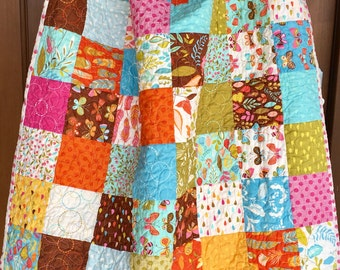 Ready To ship, patchwork baby quilt, throw quilt, butterfly quilt , pink and blue, modern handmade quilt, toddler quilt, lap quilt