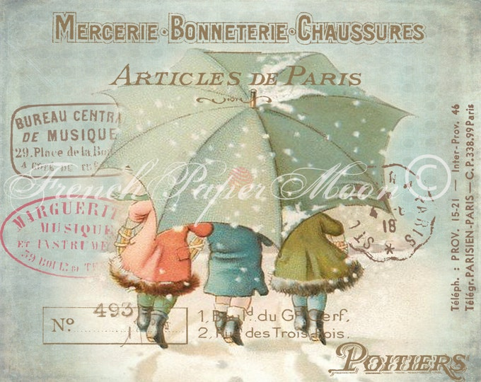 Adorable Vintage Children Image, Victorian Children walking in snow, Vintage Winter Download Graphic Transfer