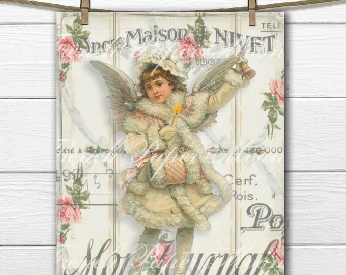 Shabby Chic Victorian Angel Image, Vintage French Angel Digital Print, French Graphic Angel Pillow Image, Graphic Transfer