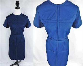 Womens Dress, Blue Dress, Vintage Dress, Casual Dress, 1990s Dress, 90s Dress, Unique Dress, Retro Dress, Office Dress, Simple Dress, Navy