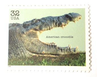 10 Unused Crocodile Stamps // Vintage American Crocodile Alligator Green Postage Stamps for Mailing