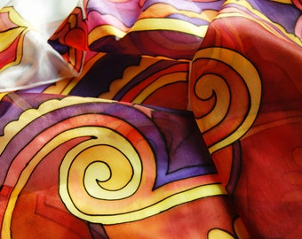 Handpainted High Quality Silk Scarf  with self-designed motives