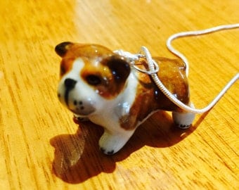 Miniature Bulldog Necklace - china English Bulldog necklace - whimsy - Kawaii Kitsch - bulldog pendant, bulldog jewellery - English bulldog
