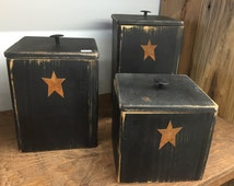 Rustic Canister Set of Three w/ Stars Kitchen Decor | Primitive | Country | Home Decor | Kitchen Storage