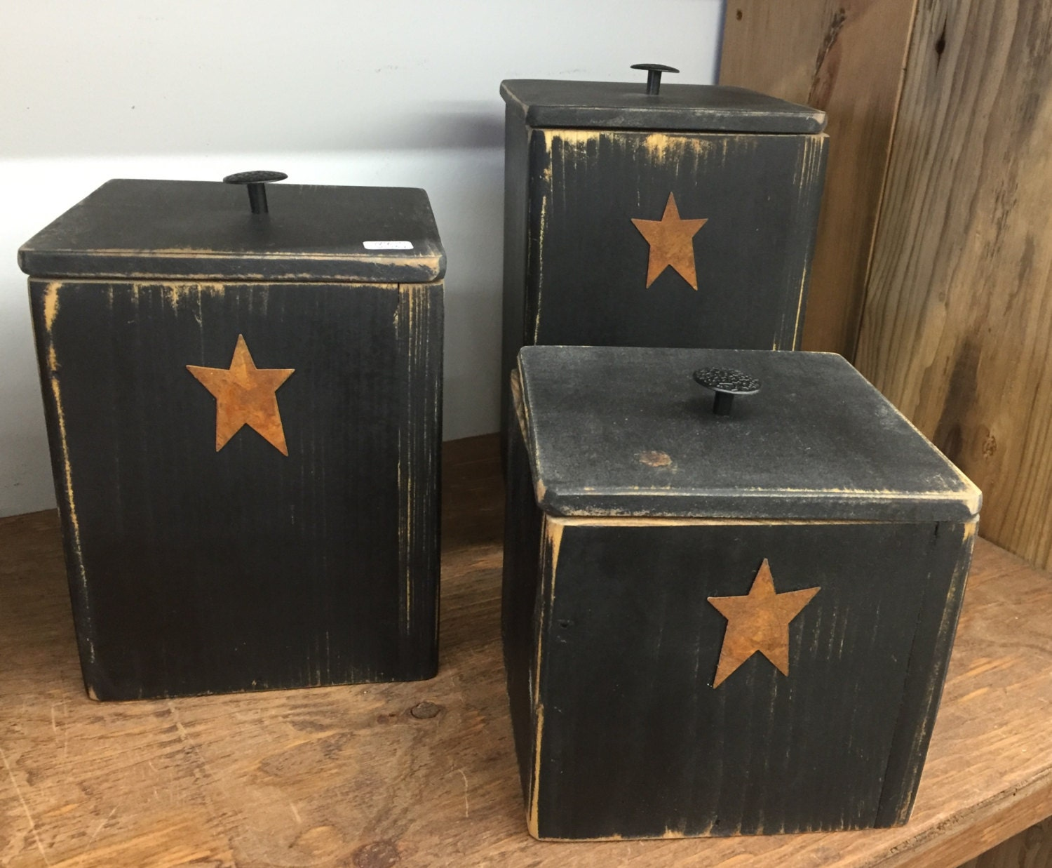 rustic canister set of three kitchen decor amp storage