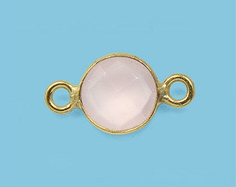 1 ea. Tiny 6mm Rose Quartz and Vermeil Bezel Connecor Link Birthstone