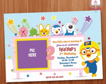 Pororo Birthday Invitation Card - Printable Invitation Card