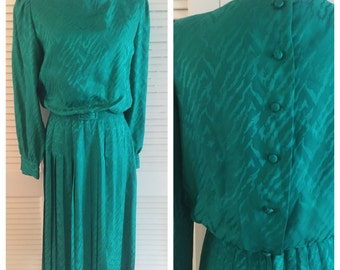 100 Percent Silk Vintage 1980s Secretary Dress, Green Silk Secretary Dress