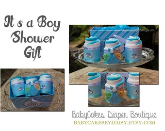 Baby Shower Gift for Boy, Diaper Cake Cupcake Basket