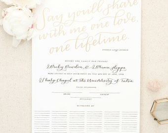 ADD-ON: custom quote for marriage certificate / hand lettered Quaker wedding guest book with gold calligraphy / gift reception