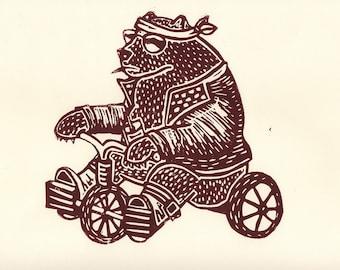 Badass Bear on a Bike: ORIGINAL linoleum relief Print; tricycle, illustration, biker
