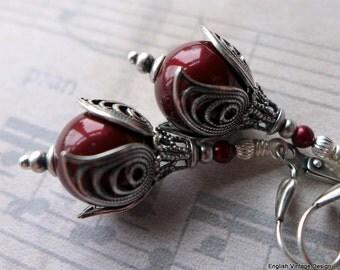 Swarovski Pearl Earrings, Red Pearl Earrings,Vintage Style Earrings, Drop Pearl Earrings, Victorian Style, Bridal Earrings. Wedding Jewelery