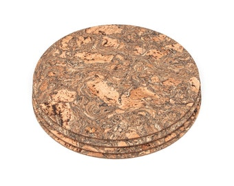 Round Cork Placemats Table Mats Dining Iceberg Pattern - Pack of 4
