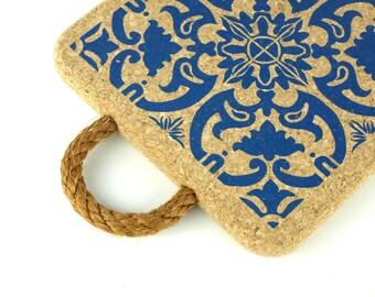 Large Cork Trivet Portuguese Tile Printing